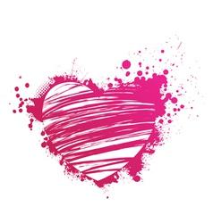 pink heart grunge vector image vector image