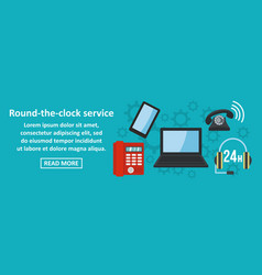 round the clock service banner horizontal concept vector image vector image