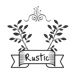 Rustic sign with leaves vector