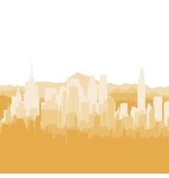 Silhouette city and mountains on white background vector