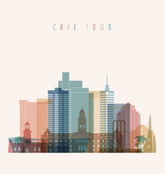 cape town skyline detailed silhouette vector image