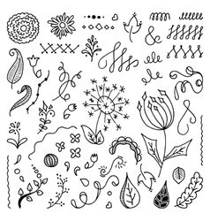 Set of hand drawn floral doodle elements vector image