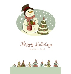 Snowman with gifts beside christmas tree vector image vector image