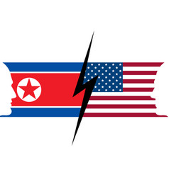 usa and north korea flag confrontation between vector image
