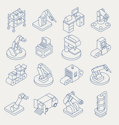 automated production line isometric thin vector image vector image