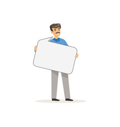 businessman character with empty message board vector image