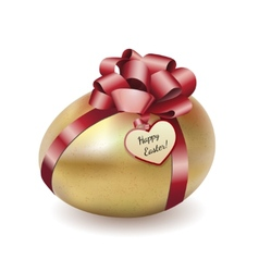 Easter gold egg with greeting card vector image vector image
