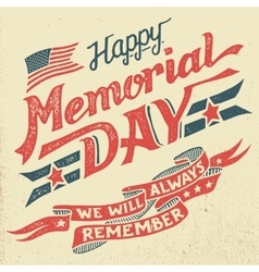 Happy Memorial Day hand-lettering greeting card vector image