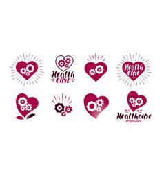 Health healthcare logo heart gears vital vector