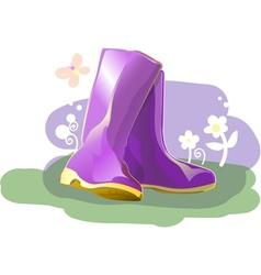 Pair of shiny rain boots vector image vector image