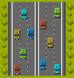 road cars background traffic jam on the road vector image