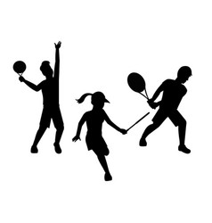 silhouette people play racket with uniform and vector image
