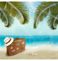 Vintage beautiful seaside background with suitcase vector image