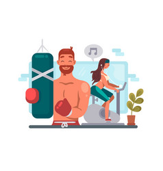 man and woman training in gym vector image
