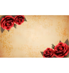 Retro background with beautiful red rose and old vector image vector image