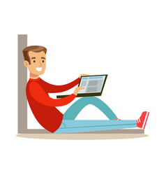 young man sitting on the floor with his laptop vector image vector image