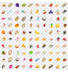 100 vitamine icons set isometric 3d style vector