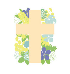 a cross with flowers biblical christian vector image
