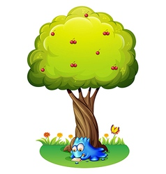 A monster writing under the tree vector image