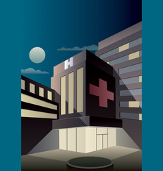 art deco hospital vector image