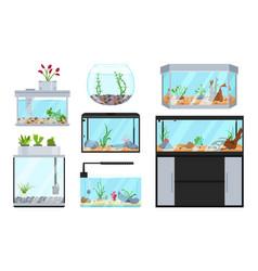 Beautiful fish tanks set vector
