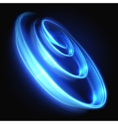 Blue neon light swirl with glowing particles vector image