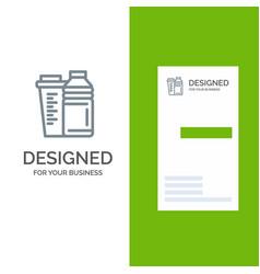Bottle drink energy shaker sport grey logo design vector