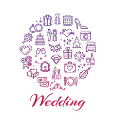 bright wedding line icons round concept vector image