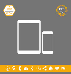 business phone and tablet with blank screens vector image