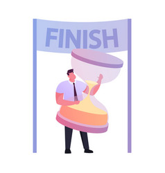 businessman character hold huge hourglass stand in vector image