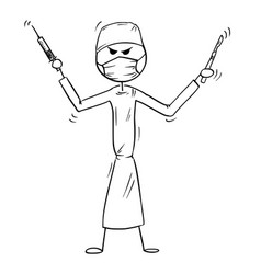 Cartoon of crazy mad or insane doctor surgeon vector