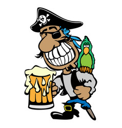 cartoon partying pirate drinking beer with parrot vector image