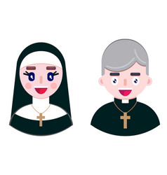 Cheerful priest and happy nun vector