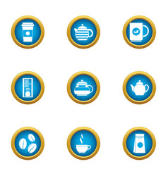 coffee business icons set flat style vector image