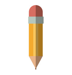 Colorful silhouette of pencil with eraser without vector