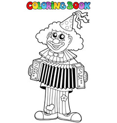 Coloring book with happy clown 1 vector