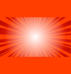 comic red sun rays background pop art retro vector image