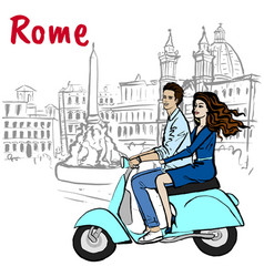 Couple driving scooter in rome vector