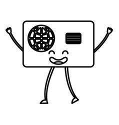 Credit card kawaii character vector