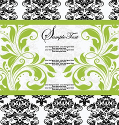 damask lime shower invitation card vector image