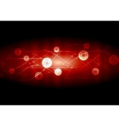 Dark red communication network wavy background vector