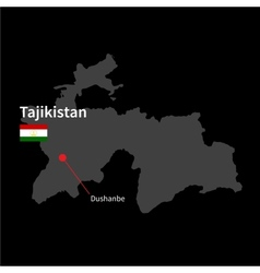 Detailed map of Tajikistan and capital city vector
