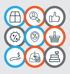 E-commerce icons set with like sale badge find vector