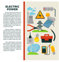 electric power obtainment and usage promotional vector image