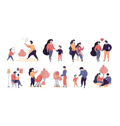 family characters adults people mother and father vector image