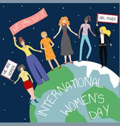 feminist girl power poster international womens vector image
