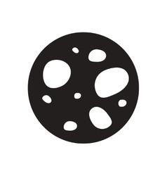 Flat icon in black and white asteroid vector
