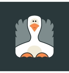 Flat square icon of a cute goose vector image