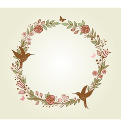 floral frame of flowers leaves and birds vector image