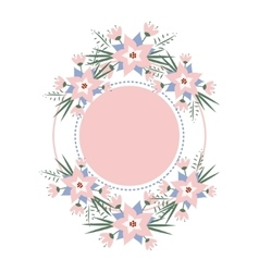 Floral vignette in form a circle vector